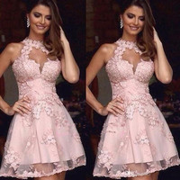Pink 2019 Homecoming Dresses A line High Collar Tulle Appliques Lace Short Mini Elegant Cocktail Dresses