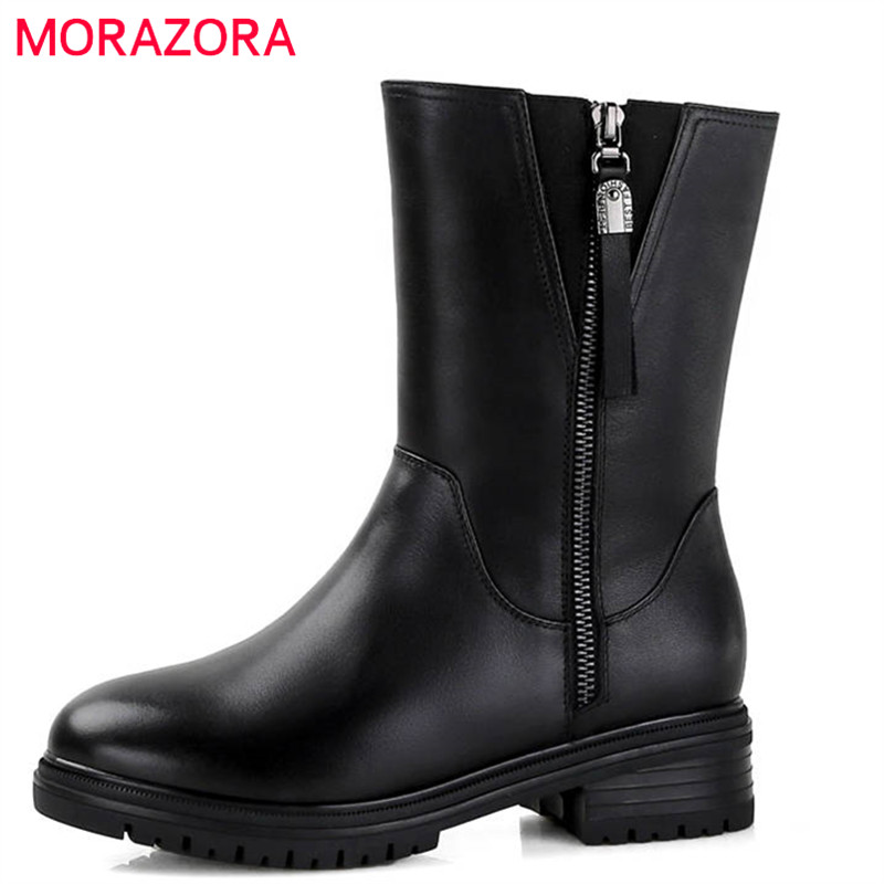 MORAZORA 2018 top quality ankle boots women genuine leather natural wool boots round toe fashion winter snow boots shoes woman цена 2017