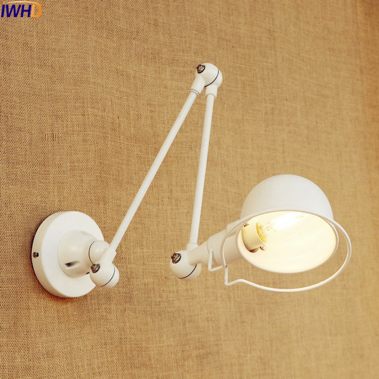 IWHD White Retro Vintage Wall Lamp LED Wandlampen Home Lighting Iron Swing Long Arm Wall Light Fixtures Sconces Lampara Pared modern acrylic led wall lights bedroom bedside wall lamp lampara de pared bed room decoration lighting wall sconces