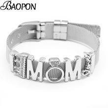 0ae40e60c BAOPON Sieraden De Perfecte Match Mesh Armband Set met LIEFDE MOM Bedels  Kralen Pandora Rvs Beacelet Armbanden Moeder Gift