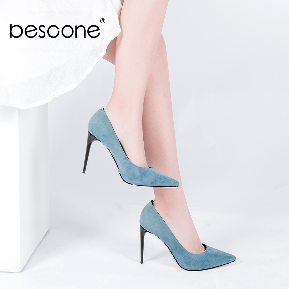 BESCONE Sexy Party Pumps Best Seller Kid Suede Pointed Toe 10cm Supper High Thin Heel Woman Shoes Spring Slip-on  Lady Pumps A34BESCONE Sexy Party Pumps Best Seller Kid Suede Pointed Toe 10cm Supper High Thin Heel Woman Shoes Spring Slip-on  Lady Pumps A34