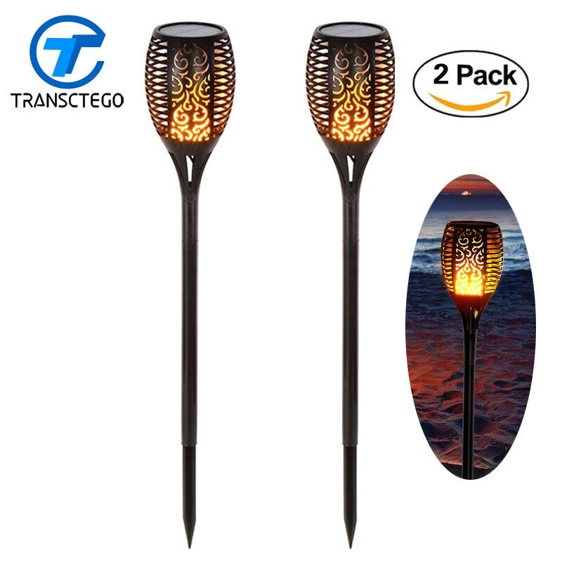 2 pcs 96 led solar luz bruxuleante chamas tiki tochas de iluminacao ao ar livre para