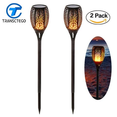 2 pcs 96 led solar luz bruxuleante chamas tiki tochas de iluminacao ao ar livre