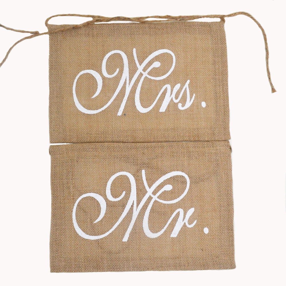 Mr And Mrs Chair Sign jute Wedding Signs Rustic jute burlap Wedding Banners Burlap Chair Sign For Party Decoration
