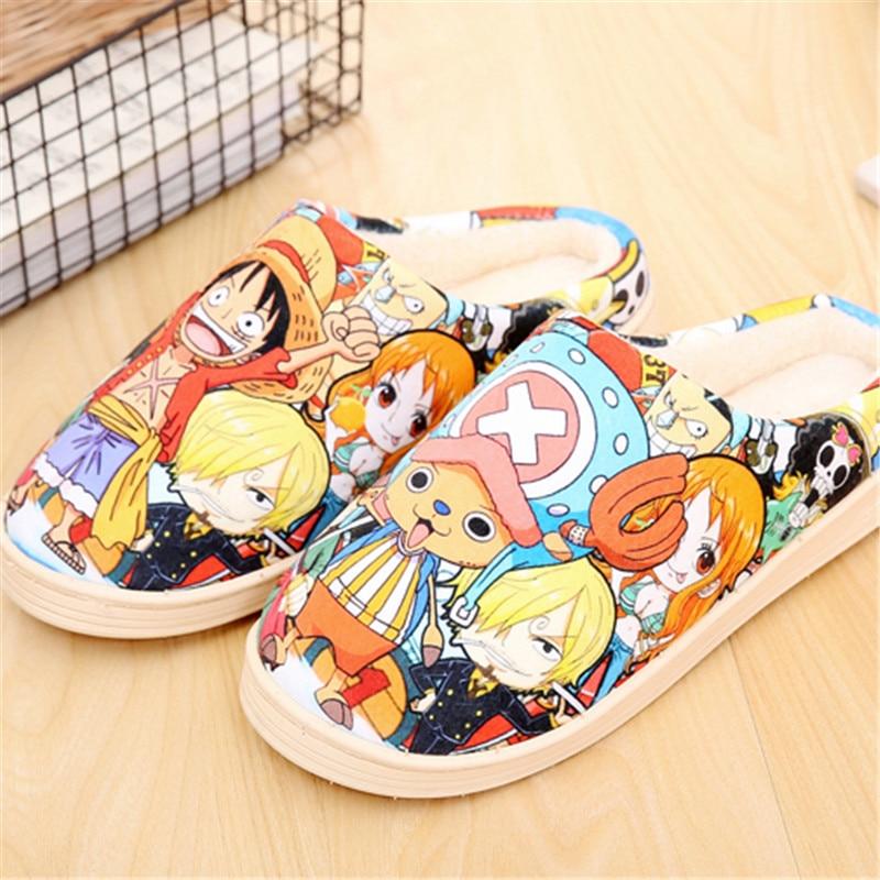 Kawaii Japanese Anime Cosplay Shoes One Piece Shoes Re Zero Pokemon Touken Ranbu Naruto Warm Plush Men Women Shoes Home Slippers