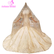 Real Gold Mermaid Wedding Dress 2019 Open Back Half Sleeves Glitters Sparlk Bridal Gown Luxury Dubai Dresses