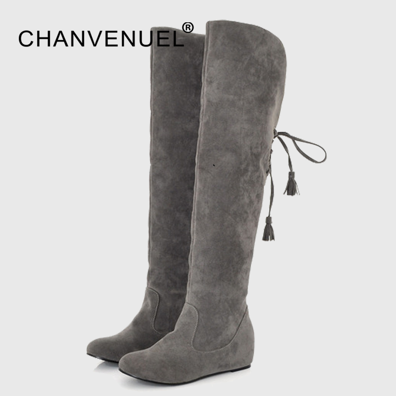 Winter Women Over Knee High Boots High Increased 4 CM Back Straps Boots Woman Fur Warm Fashion Snow Boots Plus Size Flock ppnu woman winter nubuck genuine leather over the knee snow boots women fashion womens suede thigh high boots ladies shoes flats
