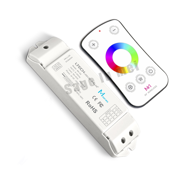 LTECH M4+M4-5A RGBW LED Controller M4 RF Wireless Touch Remote + DC5-24V 20A 5A*4CH Receiving Controller for 5050 RGBW LED Strip m3 m4 5a m3 touch rf remote with m4 5a cv receiver led dimmer controller dc5v dc24v input 5a 4ch max 20a output