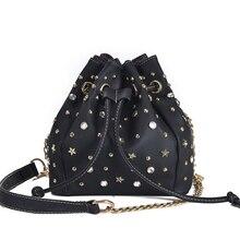 Women Bags 2017 New Brand Rivet Rhinestones Drawstring Bucket Bags Small Cross-body Bag Fashion Trend Shoulder Bag For Lady
