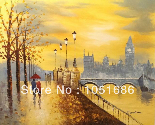 Hand painted modern abstract london city scene oil painting on canvas wall art home decoration picture