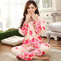Na Venda Plus Size Mulheres Thich Flanela Velo Pijamas Conjuntos de Inverno de Manga Comprida Pijamas Feminino Para As Mulheres Pijamas Homewear