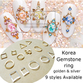 5 Pcs Hot Gemstone Ring Fingernails Nail Rhinestones Metal Alloy Jewelry Nails With Radian Easy Paste Rhinestones & Decorations
