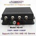 4 Canal 1080 p HD CVI TVI AHD Vídeo Fibra óptica Media Converter-para 1080 p 720 p HD CVI TVI AHD Câmera Cabo Coaxial CCTV