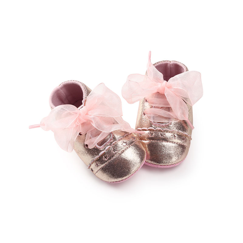 WONBO 2020 New Baby Girls First Walkers Cute Lace Riband Princess Shoes Hot Bling Pink Gold Silver Black Color