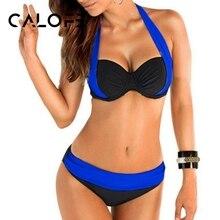CALOFE Swimsuit High Waisted Bathing Suits Swim Push Up Bikini Set 2019 New Sexy Bikinis Women Swimwear Bikini Set Beach Suits