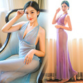 2017 New Sexy See Through Robe Onesie Footed Pyjamas for Women Shiny Mesh Pearl Halter Tops Backless First Grade Quality