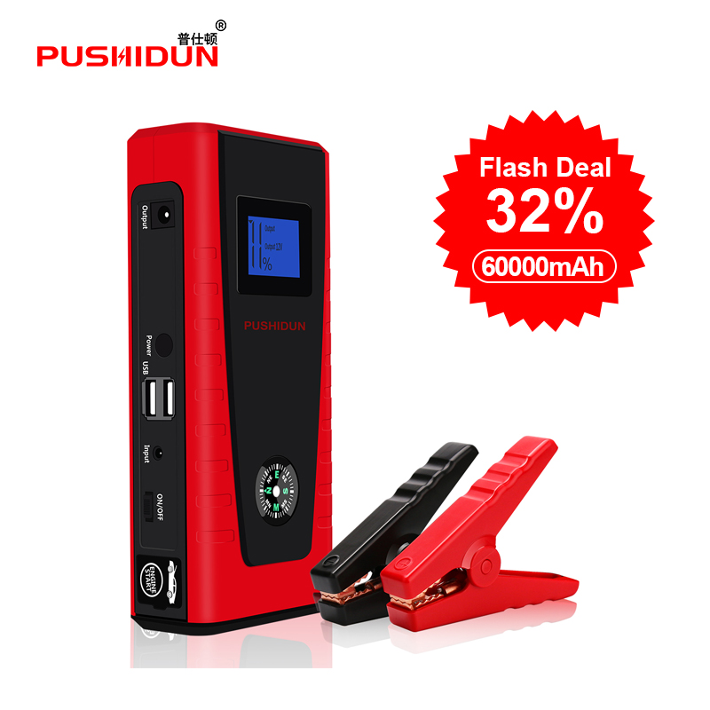 Portable Car Battery Jump Starter 600A Peak with Compass LCD Screen LED FlashLight Car Battery Smart Charger Power Bank