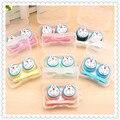 1 UNIDS de Dibujos Animados Doraemon Lindo Gafas de Doble Caja de Lentes de Contacto Estuche De lentes Para Ojos Cuidado Kit de Regalo Titular de Contenedores 7 color