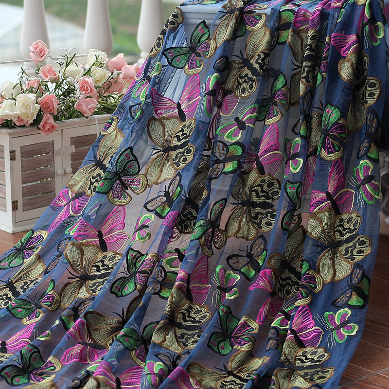 Free shipping 142cm Wide Beautiful butterfly Embroidered High quality wedding lace Fabric , retro lace .Blue mesh.