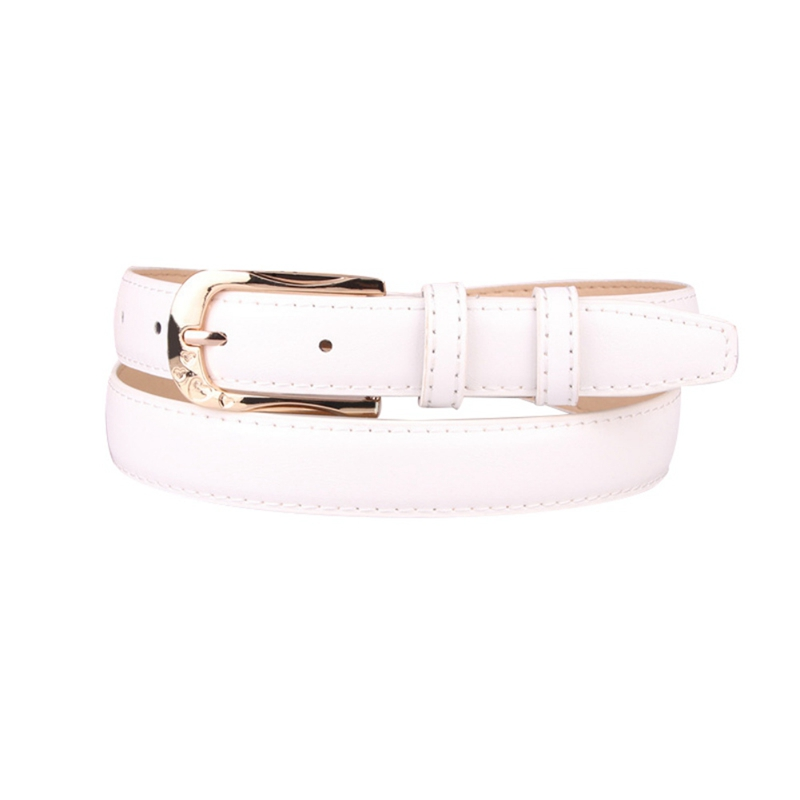 New Arrival Womens Belt Skinny Leather Solid Color Pin Buckle Simple Waist For Girls Ladies In Casual Style