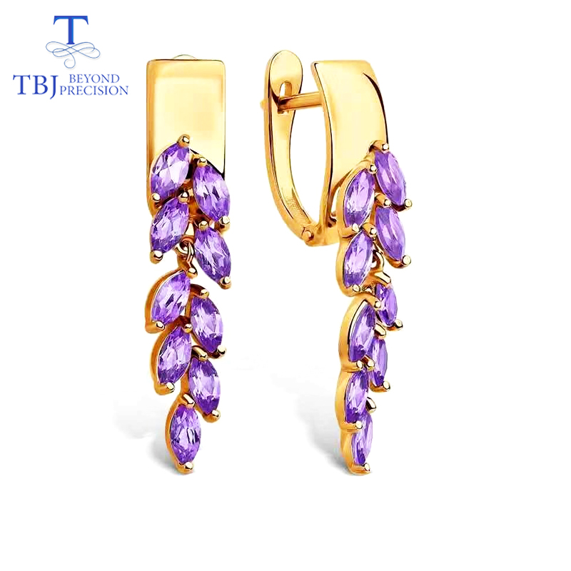 TBJ 2019 new fashion natual gemstone clasp earring africa amethyst 925 sterling silver yellow gold fine