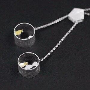 Image 2 - 蓮楽しいリアル 925 スターリングシルバークリエイティブ手作りファインジュエリーかわいい会議愛猫ネックレスなしで女性のための