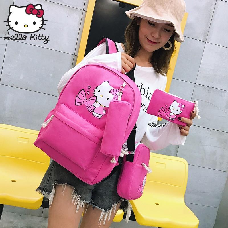 Hello Kitty Cartoon Girls Handbag Crossbody 4 In 1 Kids Tote Toys Girls Bag Canvas Plush Backpack Best Gifts For Girl Adult