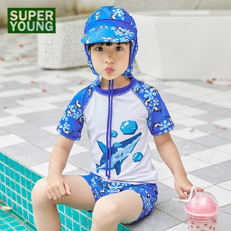 Kids Boys UPF50+ Rashguard Swimsuit Children Cartoon Shark Swimwear Baby Beach Two Pieces Bathing Suits Workout Clothes Swim Cap