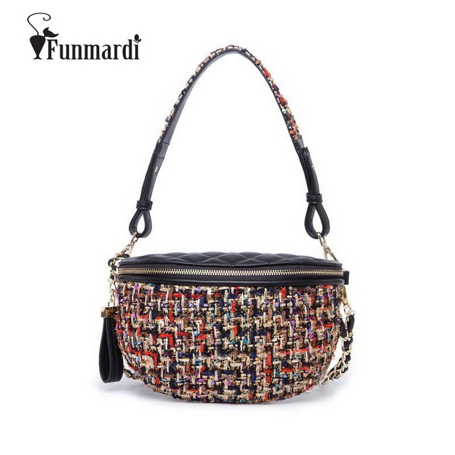 FUNMARDI New Luxury Woolen Fanny Pack Brand Design Belt Bag High-end PU Leather Waist Bag Vintage Thread Women Bags WLAM0195