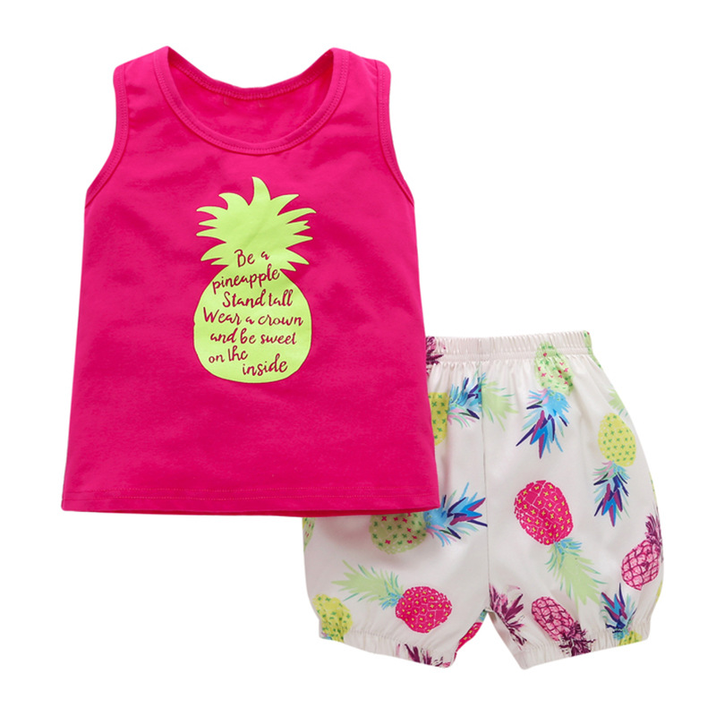 2018 Children 2pcs shorts suit Summer Kids girls clothing fruit pineapple style vest +shorts Toddle girls clothes sets