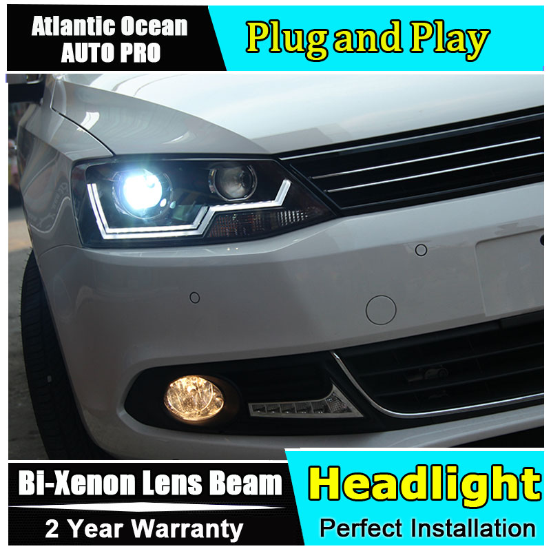 Car Styling For VW Jetta headlights 2011-2014 Volks Wagen Jetta MK6 LED headlight Jetta led HID KIT Bi-Xenon Lens low beam hireno headlamp for 2016 hyundai elantra headlight assembly led drl angel lens double beam hid xenon 2pcs