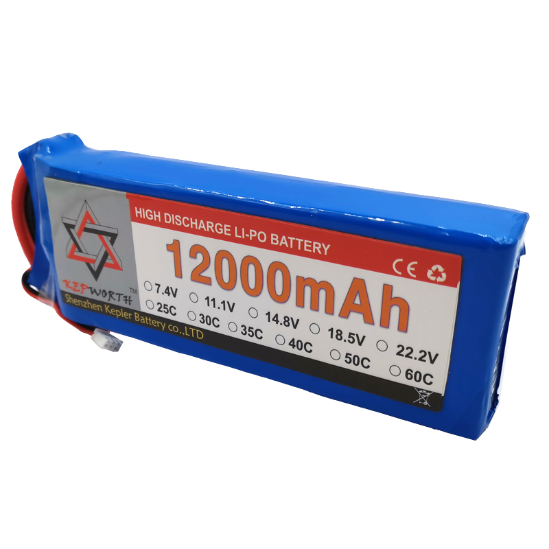 2S 7.4V RC Lipo Battery 12000mAh 25C High Capacity For Helicopter Drone Plane Car Toy RC Li-Po Battery High Power image