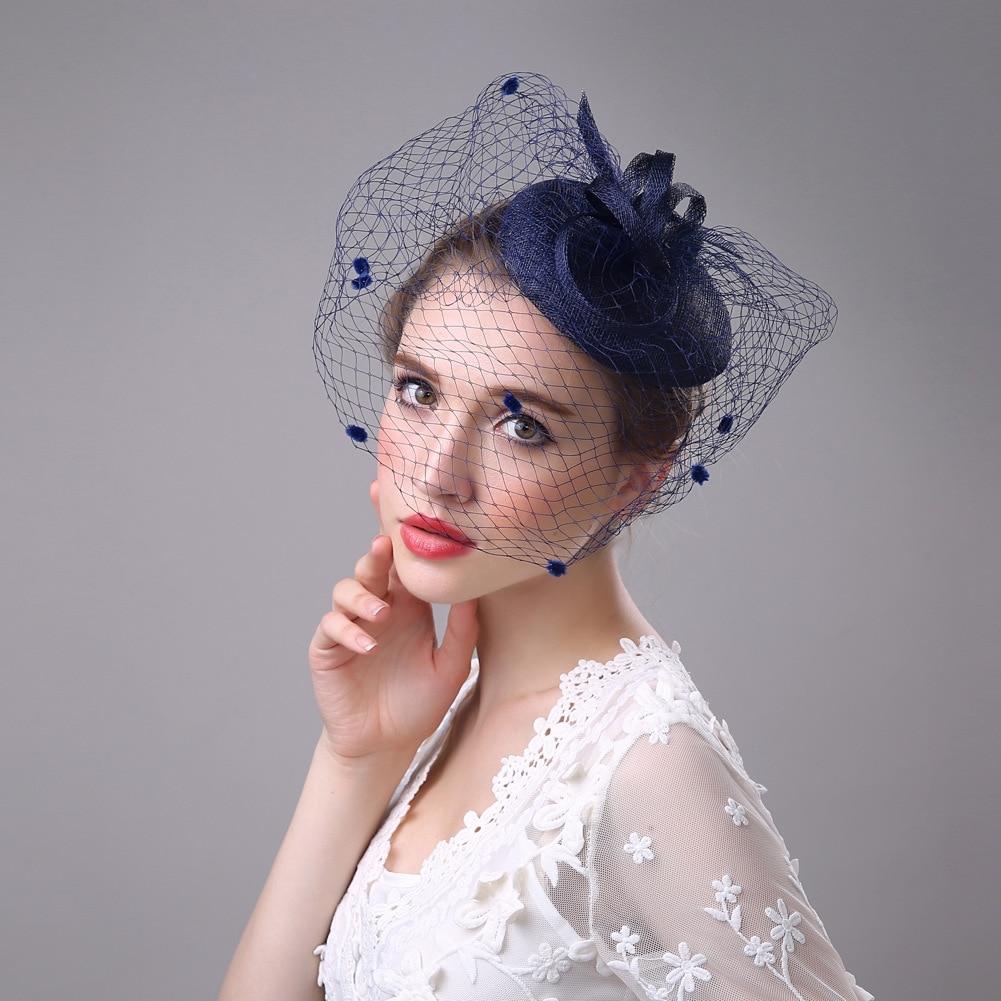 New Style Handmade Women Hair Accessories Blue Beige Navy Black Linen Feather Gauze Cap Party Banquet Bride Headdress