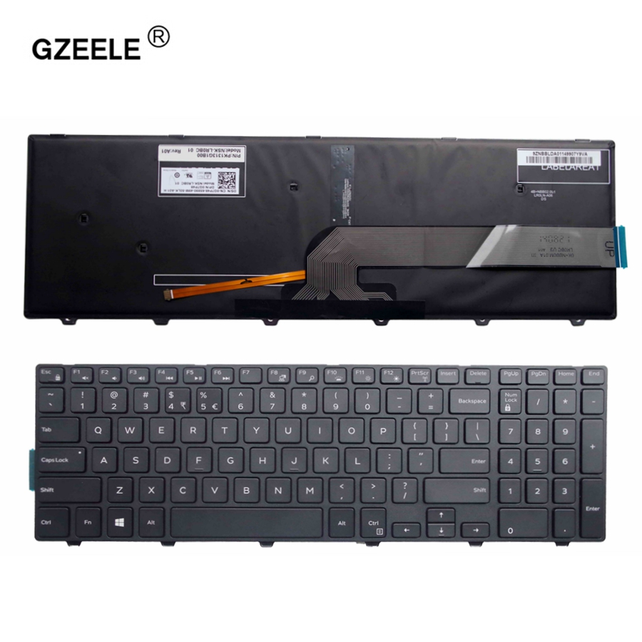 GZEELE For Dell Inspiron 15 5000 Series 15 5551 5552 5555 5558 5559 7559 Keyboard US Layout Black Color With Backlit Keyboard