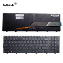 Gzeele teclado de layout para dell inspiron 15 5000 series 15 5551 5552 5555 5558 5559 7559, cor preta teclado retroiluminado
