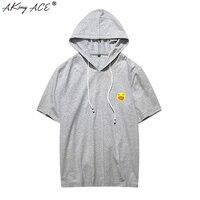 EU Size AKing ACE Summer mens hooded t shirt cotton harajuku men t-shirt Mens Black loose t shirts with badge 2018 , A470