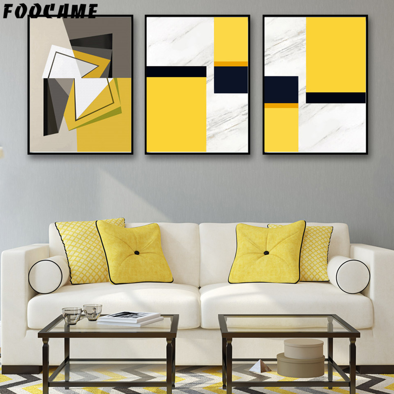 Foocame Abstract Geometric Yellow And Black Posters And