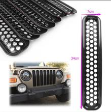 Front Grille Covers Insert Mesh Grill For Jeep Wrangler TJ 1997 1998 1999 2000 2001 2002 2003 2004 2005 2006 7pcs 34cm*7cm