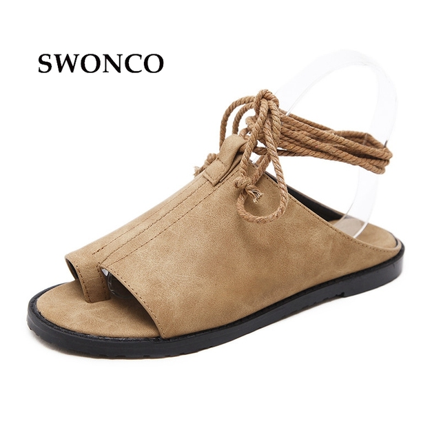 c16cc4eb9acb SWONCO Women s Sandals 2018 Summer Fashion Ankle Strap Ladies Shoes  Gladiator Sandals Women Flat Leather Beach Slippers