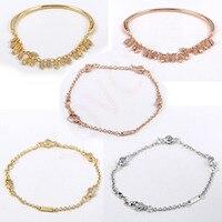 Autumn 100% 925 Sterling Silver Shining gold Flowing Oatmeal Wheat Bracelet for Women's Bracelet Fashion Glamour Jewelry