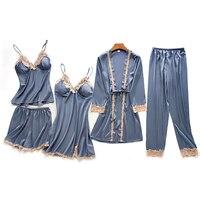 2018 распродажа пижамы женские пижамы Onesie леди Lce пижамы Пять частей пижамы наборы Грудь Мягкий сексуальный домашний костюм для женщин сна