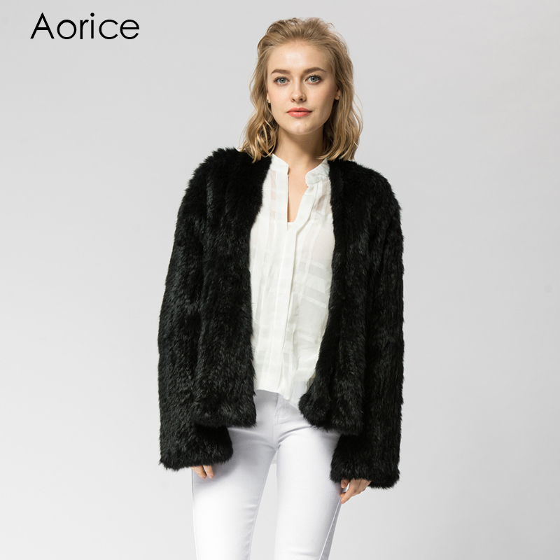 CR002 8 Knitted knit new real rabbit fur coat overcoat jacket women s winter thick warm