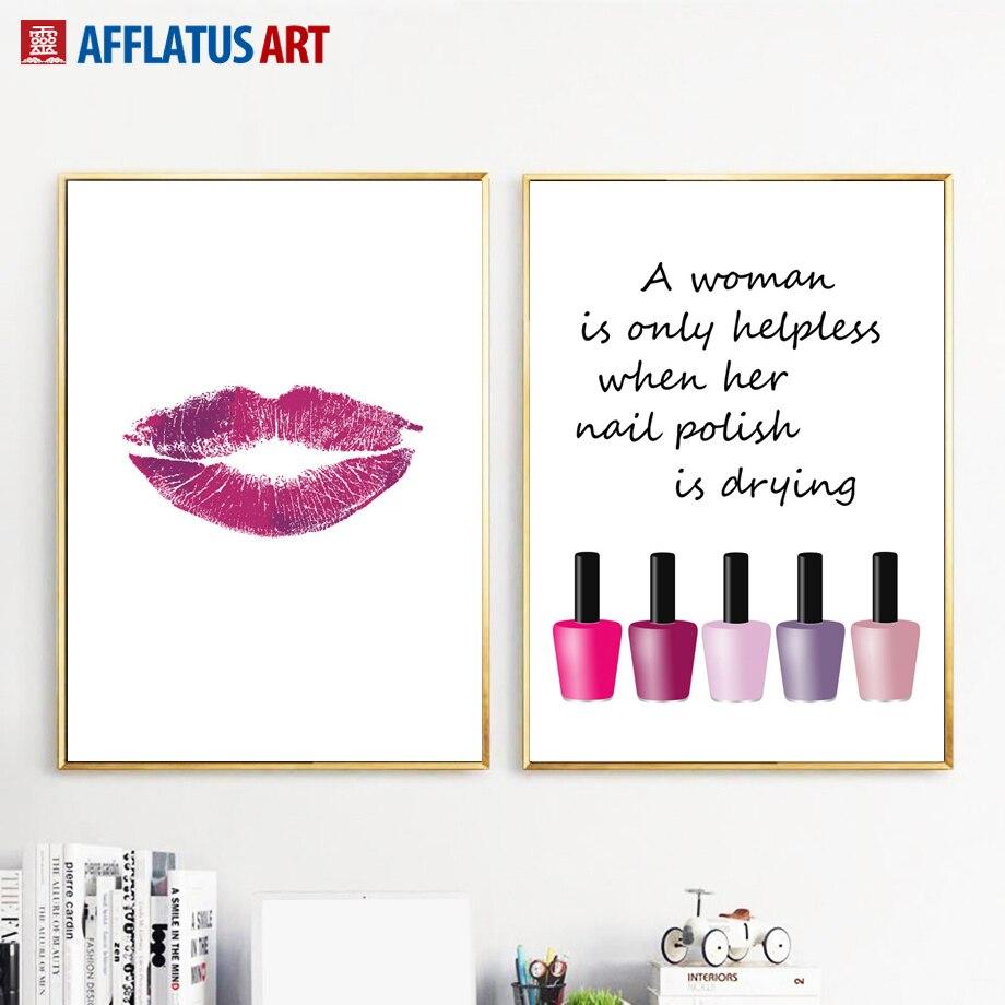 Nail Art Quote: Fashion Lip Nail Polish Quotes Wall Art Canvas Painting