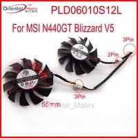 2pcs Lot POWER LOGIC PLD06010S12L 55mm MSI N440GT Blizzard V5 Graphics Card Cooling Fan 39mm X