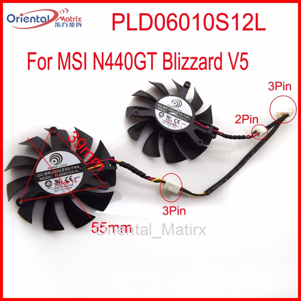 2pcs/Lot PLD06010S12L 55mm MSI N440GT Blizzard V5 Graphics Card Cooling Fan 39mm x 39mm x 39mm 12V 0.20A 3Wire polaroid pld d201 dl5