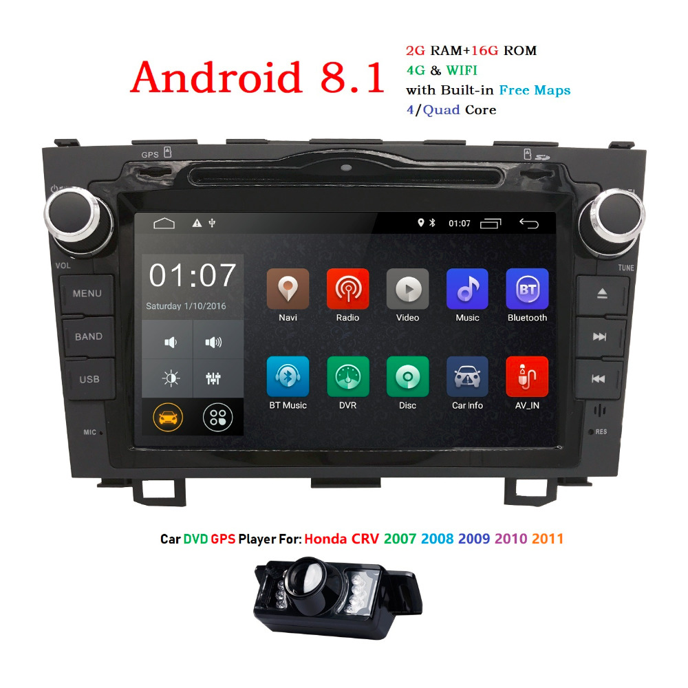 Android 8.1 voiture dvd gps lecteur multimédia Pour Honda CRV CR-V CR V voiture dvd navigation raido vidéo-sortie audio lecteur 2 din 2g + 16