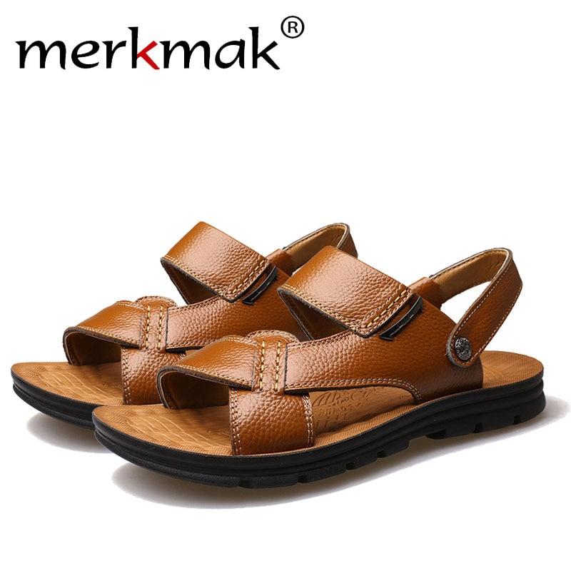 73719049c9ad3 Merkmak Fashion Summer Men Sandals Beach Shoes Luxury Brand Genuine Leather  Comfortable Man Flats Travel Footwear Drop Shipping