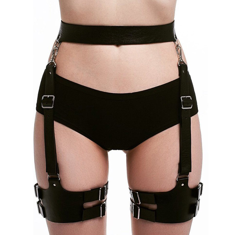 Leather Harness Thigh Straps Suspenders Sexy Bdsm Bondage Punk Pastel Goth Sexy Fantazi Seks Belt For Stockings High Thigh