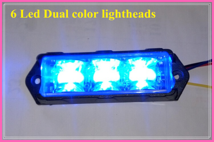 Warna ganda Terang 6 * 3W Led mobil grill warnining cahaya, lampu darurat, lampu sorot, 17 flash, tahan air (2 pcs / lot)