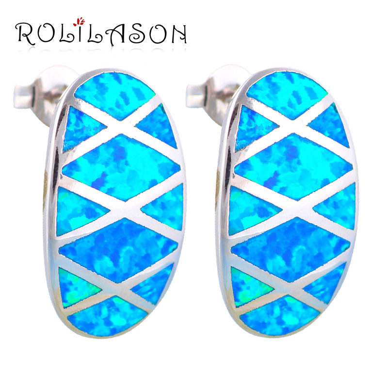 Luxury gifts for Anniversary Wholesale & Retail Blue Fire Opal Silver Stamped Stud Earrings for women Opal Fashion Jewelry OE324 pair of sweet faux opal embellished kitten earrings for women